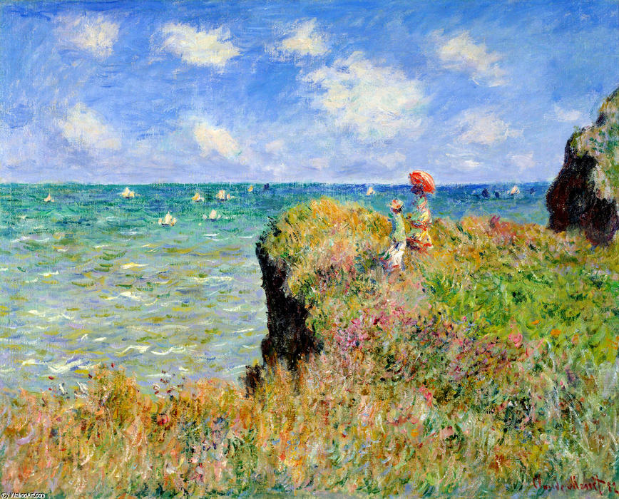Order Museum Quality Reproductions : Clifftop Walk at Pourville, 1882 by Claude Monet (1840-1926, France) | WahooArt.com