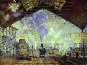 Claude Monet - Gare Saint Lazare, Pari - (oil painting reproductions)