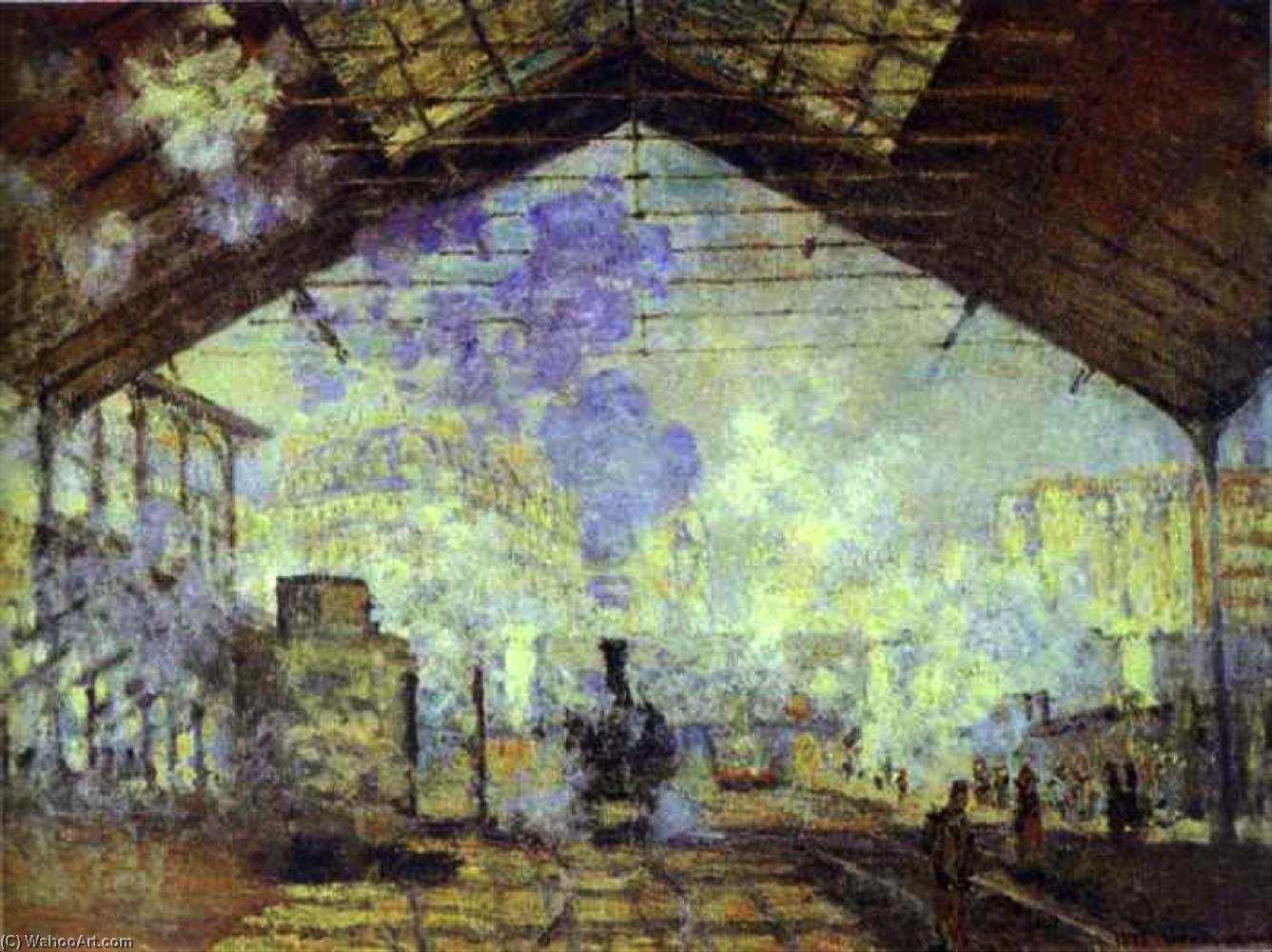 Gare Saint Lazare, Pari, Oil by Claude Monet (1840-1926, France)
