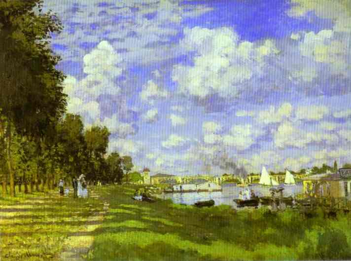 The Harbour at Argenteuil, Oil by Claude Monet (1840-1926, France)