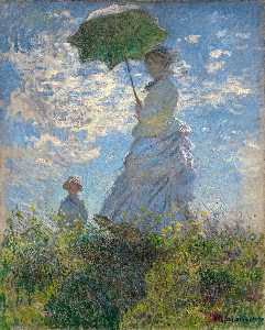 Claude Monet - The Walk. Lady with a Parasol - (Famous paintings reproduction)