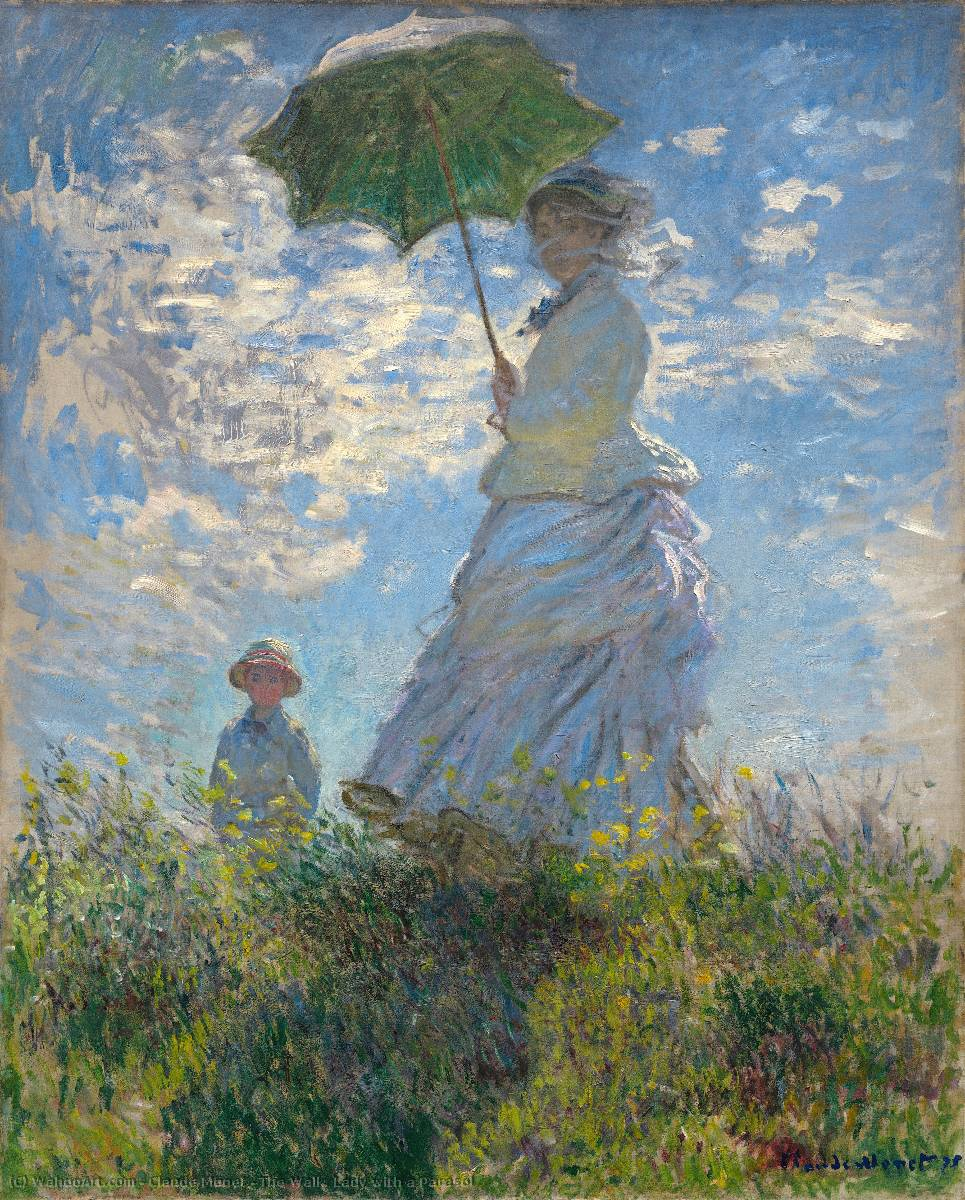 Order Museum Quality Reproductions : The Walk. Lady with a Parasol, 1875 by Claude Monet (1840-1926, France) | WahooArt.com
