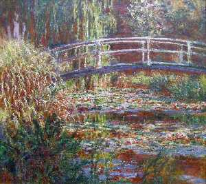Claude Monet - The Water Lily Pond, Pink Harmony - (Famous paintings reproduction)