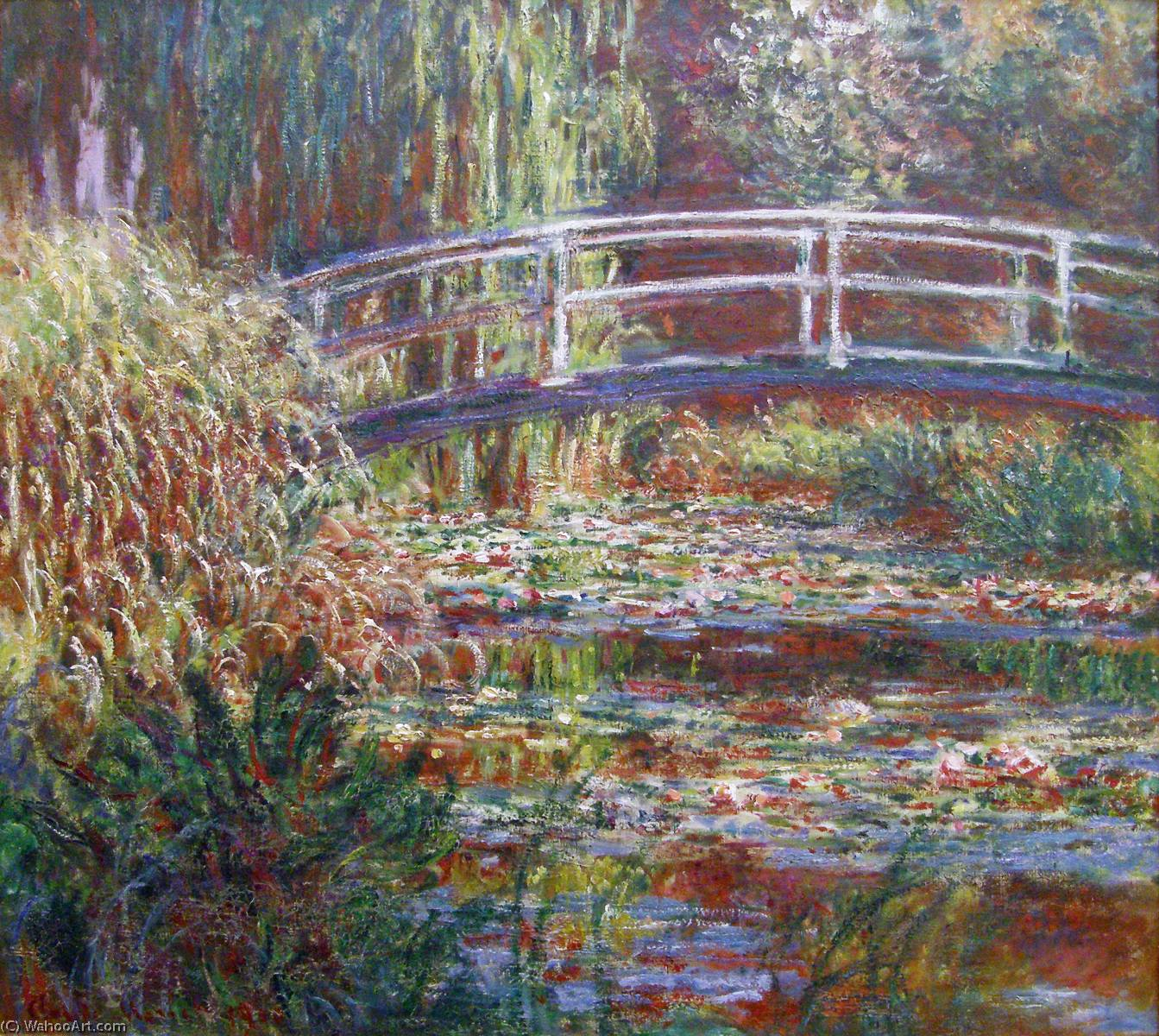 The Water Lily Pond, Pink Harmony by Claude Monet (1840-1926, France) | Oil Painting | WahooArt.com