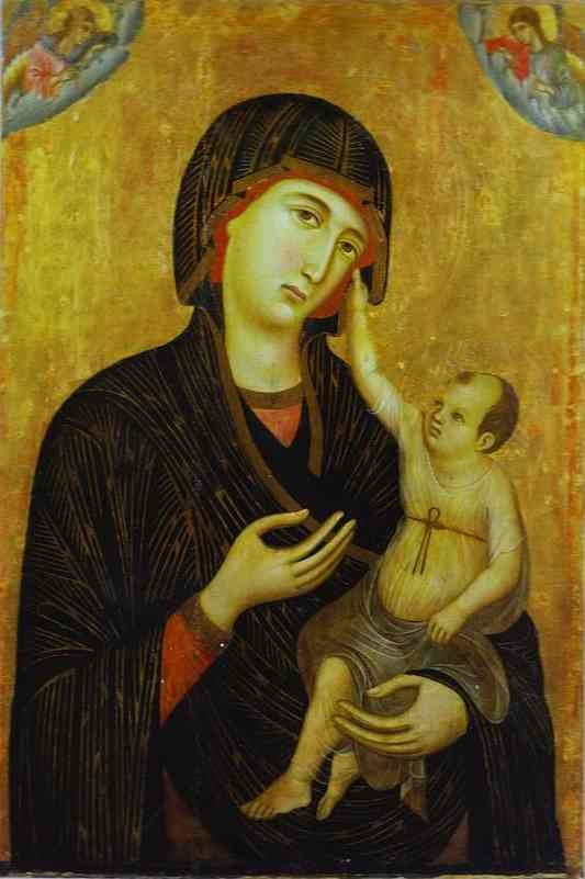 Crevole Madonna by Duccio Di Buoninsegna (1255-1319, Italy) | Famous Paintings Reproductions | WahooArt.com