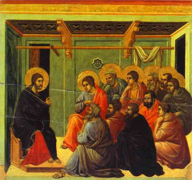 MaestÓ (back, central panel), Christ Taking Leave of His Apostles by Duccio Di Buoninsegna (1255-1319, Italy) | Painting Copy | WahooArt.com