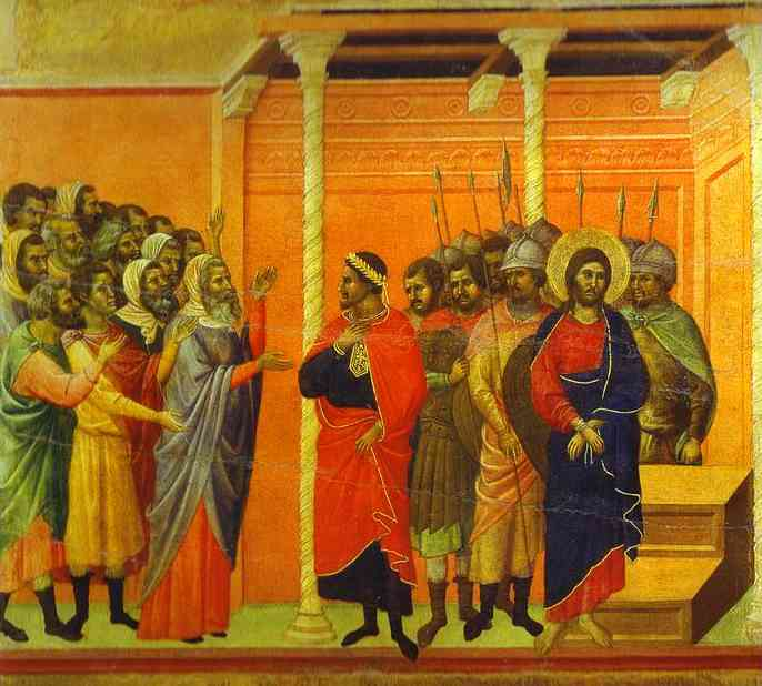 MaestÓ (back, central panel), Jesus Accused by the Pharisees by Duccio Di Buoninsegna (1255-1319, Italy) | Oil Painting | WahooArt.com