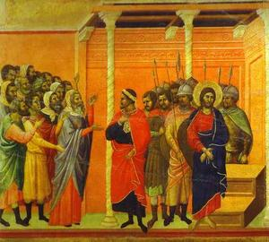 Duccio Di Buoninsegna - MaestÓ (back, central panel), Jesus Accused by the Pharisees