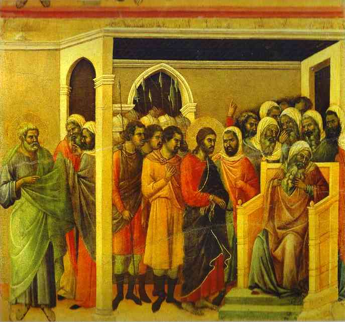 MaestÓ (back, central panel), Jesus Before Caiaphas by Duccio Di Buoninsegna (1255-1319, Italy) | WahooArt.com