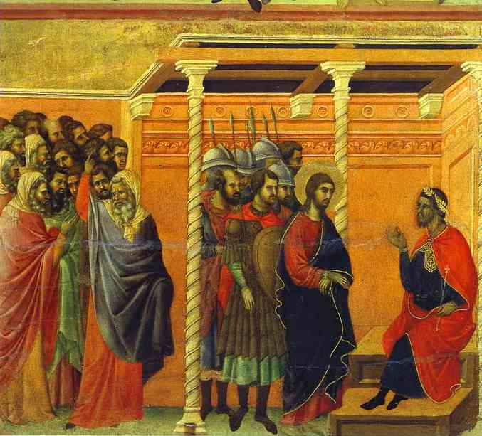 MaestÓ (back, central panel), Jesus Before Pontius Pilate by Duccio Di Buoninsegna (1255-1319, Italy) | Museum Quality Reproductions | WahooArt.com