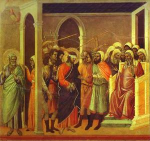 Duccio Di Buoninsegna - MaestÓ (back, central panel), Jesus Mocked
