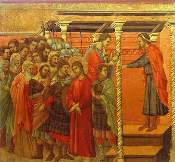 MaestÓ (back, central panel), Pontius Pilate Washing his Hands by Duccio Di Buoninsegna (1255-1319, Italy) | Oil Painting | WahooArt.com