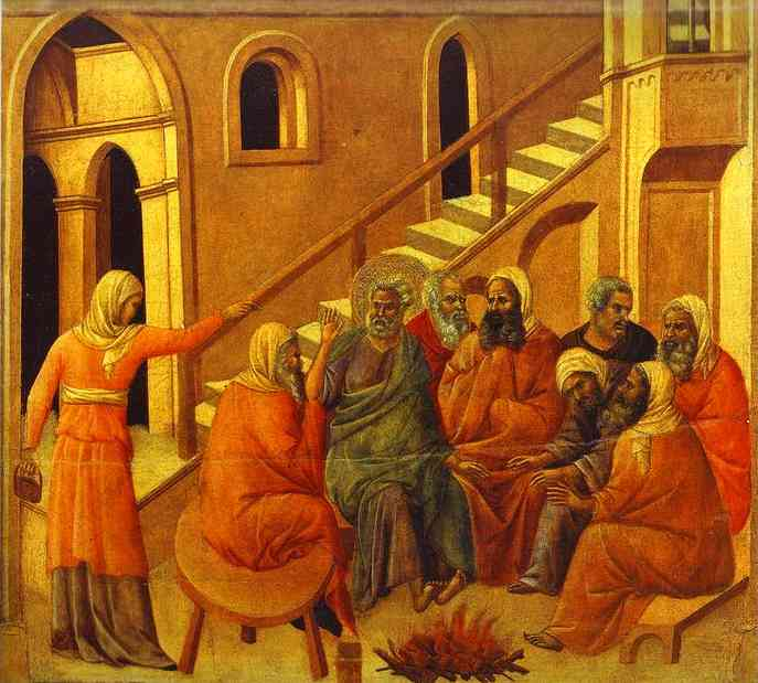 MaestÓ (back, central panel), St. Peter First Denying Jesus by Duccio Di Buoninsegna (1255-1319, Italy) | WahooArt.com