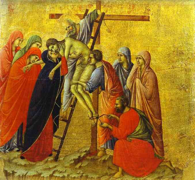 MaestÓ (back, central panel), The Deposition by Duccio Di Buoninsegna (1255-1319, Italy) | Museum Quality Reproductions | WahooArt.com