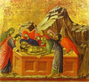 Duccio Di Buoninsegna - MaestÓ (back, central panel), The Entombment