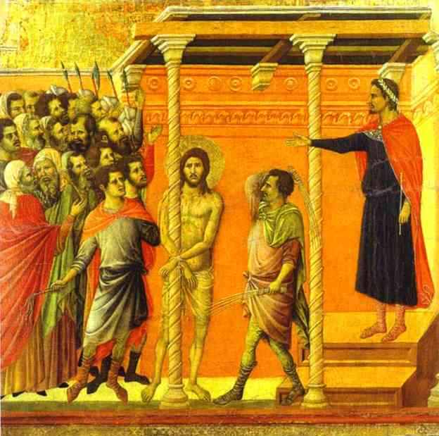 MaestÓ (back, central panel), The Flagellation by Duccio Di Buoninsegna (1255-1319, Italy) | Oil Painting | WahooArt.com