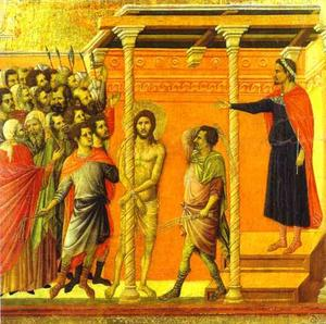 Duccio Di Buoninsegna - MaestÓ (back, central panel), The Flagellation