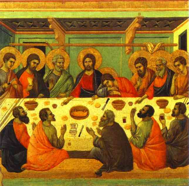 MaestÓ (back, central panel), The Last Supper, Oil by Duccio Di Buoninsegna (1255-1319, Italy)