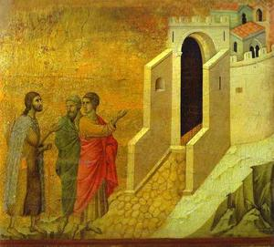 Duccio Di Buoninsegna - MaestÓ (back, central panel), The Road to Emmaus