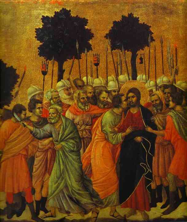 MaestÓ (back, central panel, detail of), The Seizing of Jesus by Duccio Di Buoninsegna (1255-1319, Italy) | Painting Copy | WahooArt.com