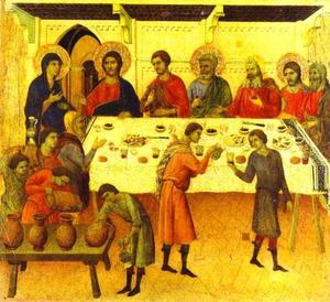 Duccio Di Buoninsegna - MaestÓ (back, predella), The Wedding at Cana