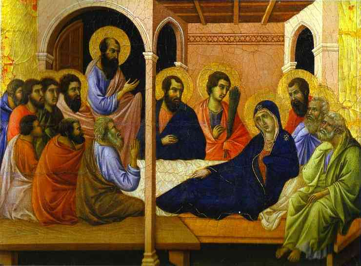 MaestÓ (front, crowning panels), Parting from the Apostles by Duccio Di Buoninsegna (1255-1319, Italy) | WahooArt.com
