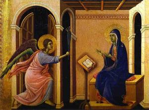 Duccio Di Buoninsegna - MaestÓ (front, crowning panels), The Announcement of the Virgin's Death
