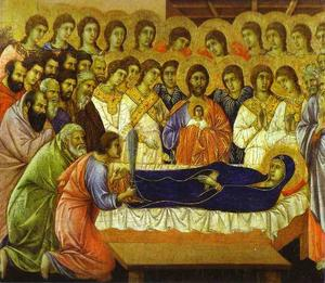 Duccio Di Buoninsegna - MaestÓ (front, crowning panels), The Death of the Virgin