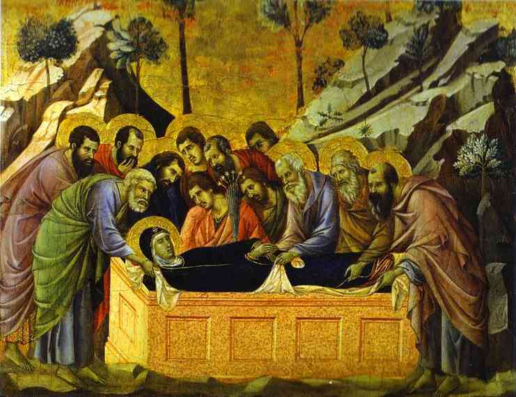 MaestÓ (front, crowning panels), The Entombment of the Virgin by Duccio Di Buoninsegna (1255-1319, Italy) | WahooArt.com