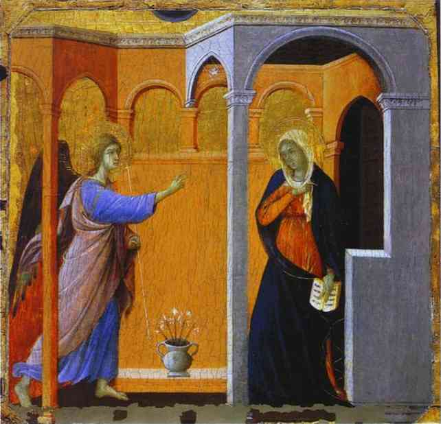 MaestÓ (front, predella), The Annunciation, Oil by Duccio Di Buoninsegna (1255-1319, Italy)