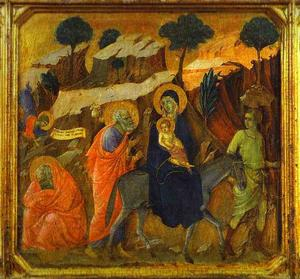 Duccio Di Buoninsegna - MaestÓ (front, predella), The Flight into Egypt