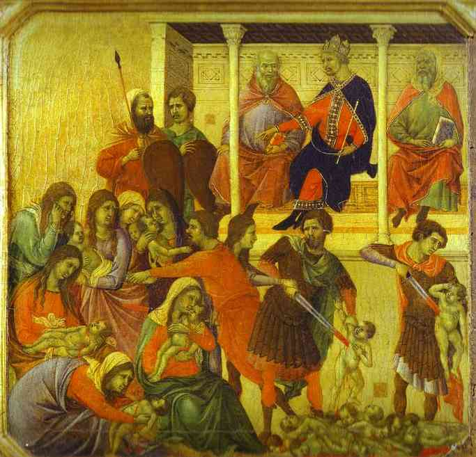 MaestÓ (front, predella), The Massacre of the Innocents by Duccio Di Buoninsegna (1255-1319, Italy) | WahooArt.com