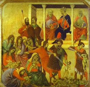 Duccio Di Buoninsegna - MaestÓ (front, predella), The Massacre of the Innocents