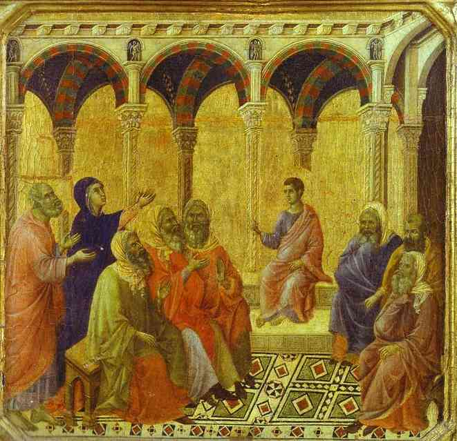 MaestÓ (front, predella, detail of), Christ Disputing with the Scribes by Duccio Di Buoninsegna (1255-1319, Italy) | Museum Quality Reproductions | WahooArt.com