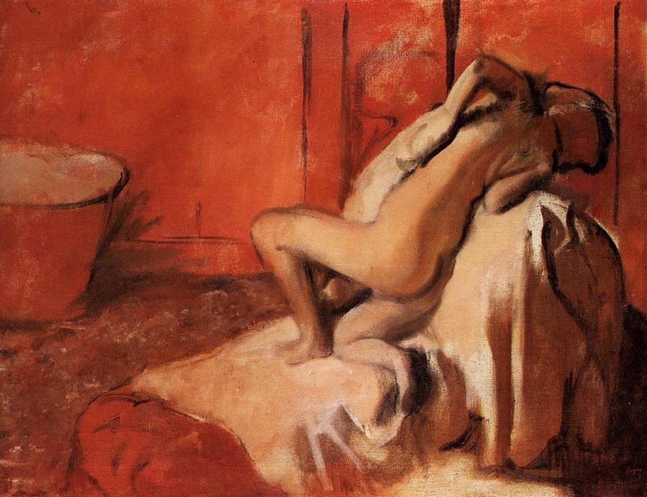 After the Bath, Pastel by Edgar Degas (1834-1917, France)