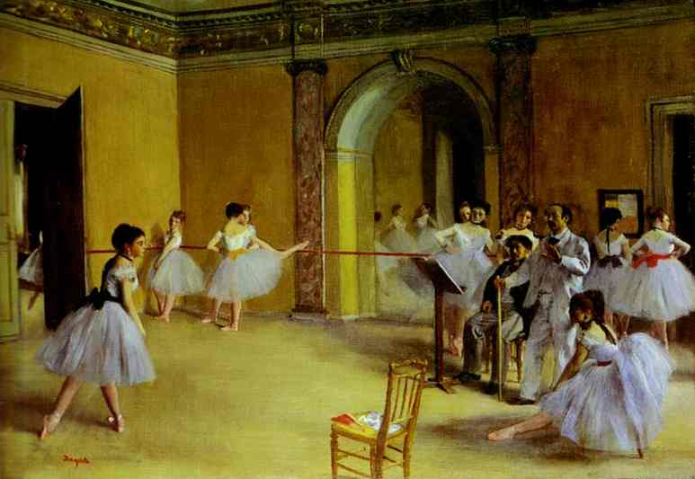 Ballet Rehearsal on the Set, Oil by Edgar Degas (1834-1917, France)