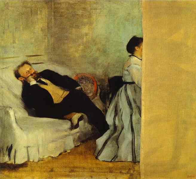 Portrait of Monsieur and Madame Edouard Manet, Oil by Edgar Degas (1834-1917, France)