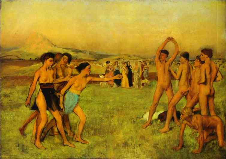 Young Spartans Exercising, Oil by Edgar Degas (1834-1917, France)