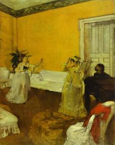 The Song Rehearsal, Oil by Edgar Degas  (order Fine Art oil painting Edgar Degas)