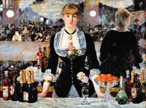 Edouard Manet - A Bar at the Folies-Bergere - (Famous paintings reproduction)