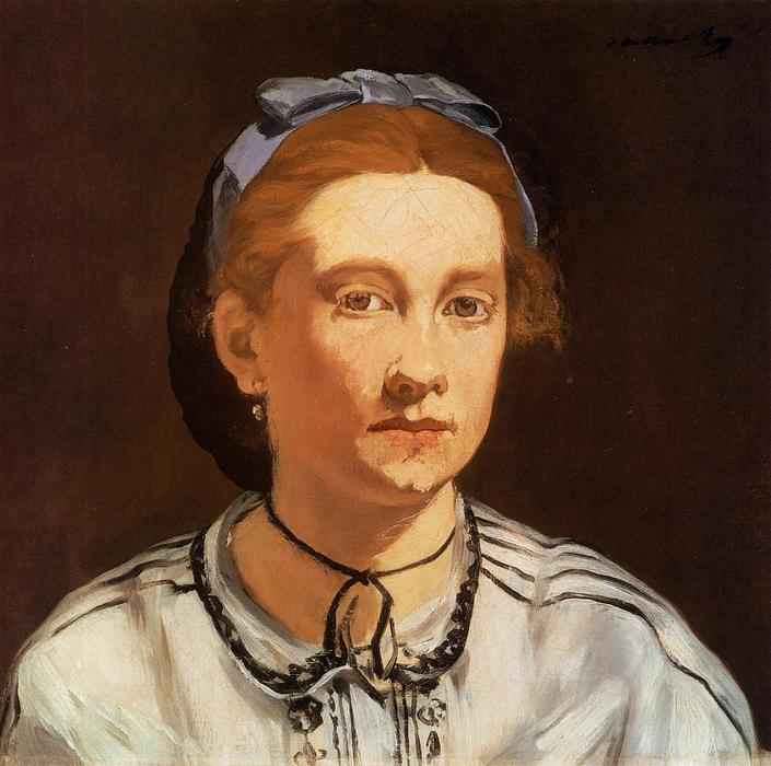 Portrait of Victorine Meurent, Oil On Canvas by Edouard Manet (1832-1883, France)
