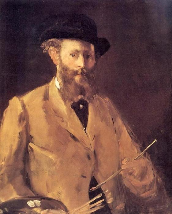 Self Portrait with a Palette, Oil On Canvas by Edouard Manet (1832-1883, France)