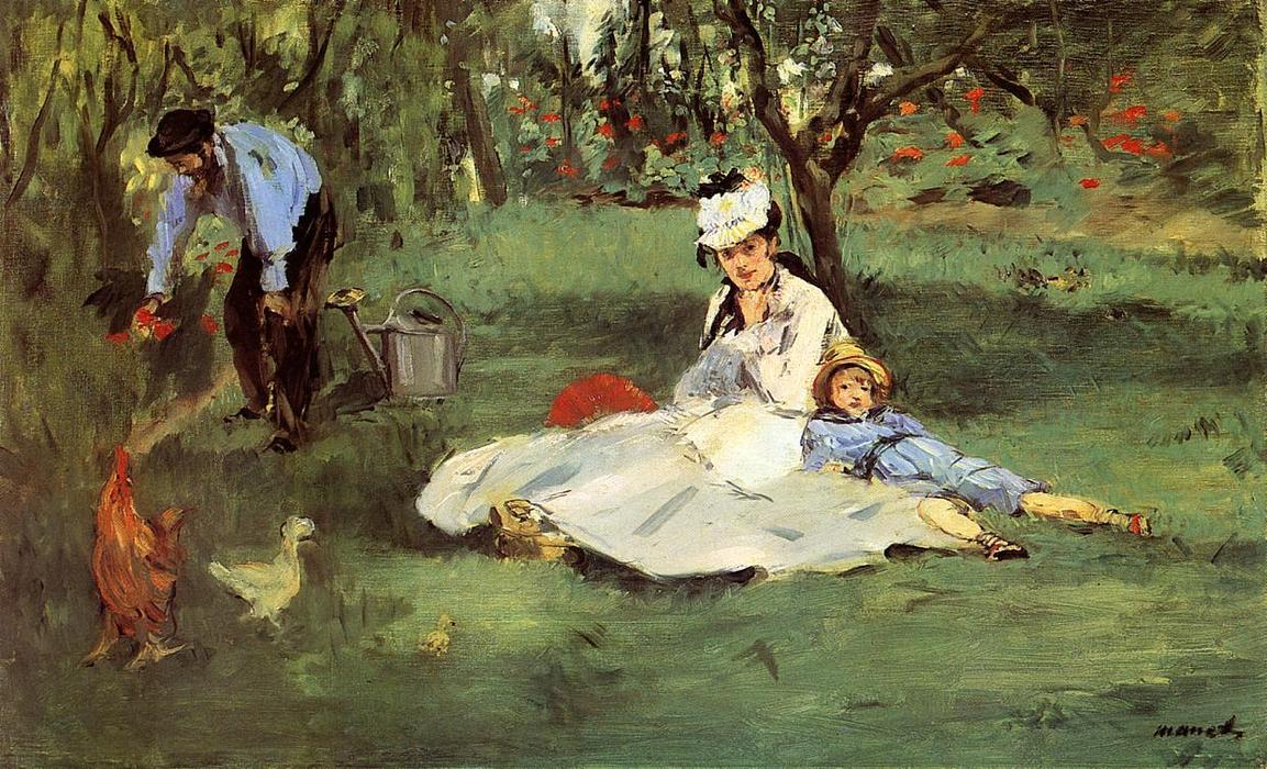 The Monet Family in the Garden, Oil On Canvas by Edouard Manet (1832-1883, France)