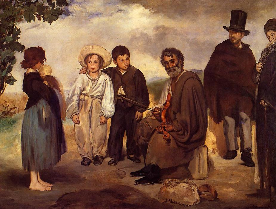 The old musician, 1862 by Edouard Manet (1832-1883, France) | Famous Paintings Reproductions | WahooArt.com