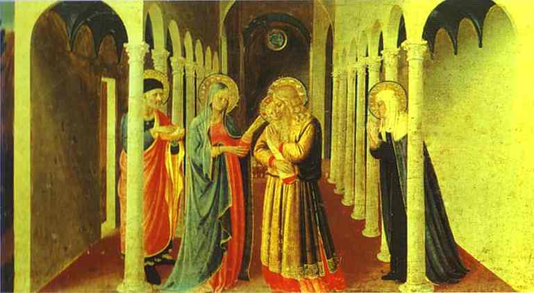 Annunciation. Presentation in the Temple, Oil by Fra Angelico (1395-1455, Italy)