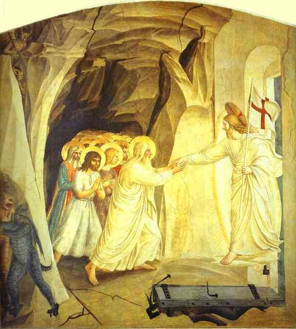 Christ in Limbo, Oil by Fra Angelico (1395-1455, Italy)