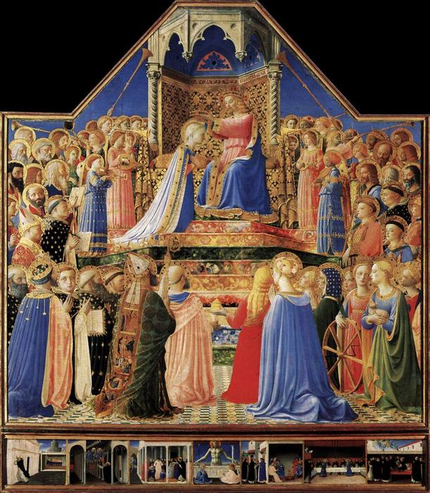 Coronation of the Virgin, Tempera by Fra Angelico (1395-1455, Italy)