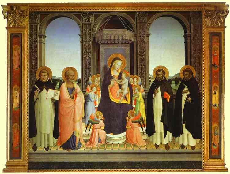 Fiesole Triptych, Oil by Fra Angelico (1395-1455, Italy)