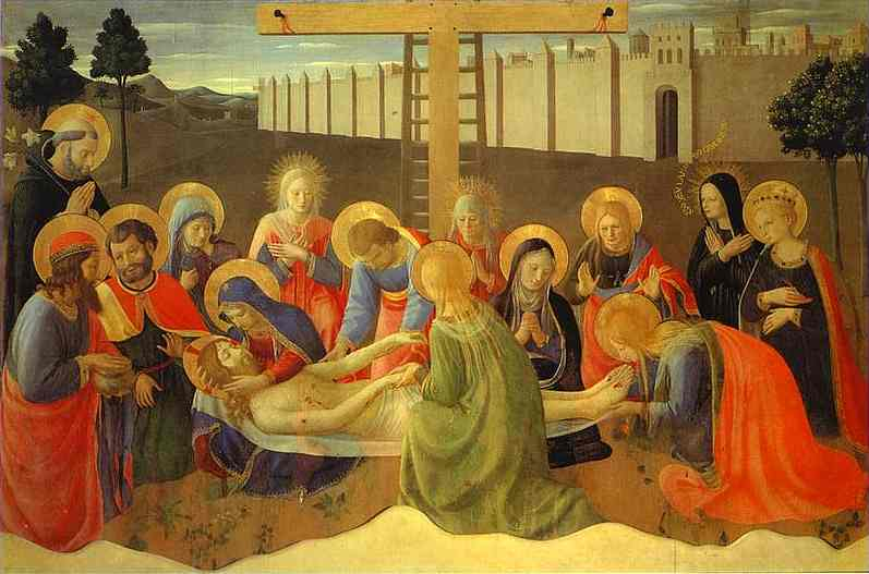 Lamentation over the Dead Christ, Oil by Fra Angelico (1395-1455, Italy)