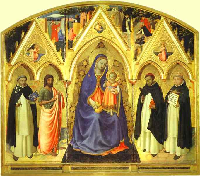 San Pietro Martire Triptych, Oil by Fra Angelico (1395-1455, Italy)